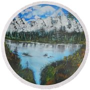 Calm Lake Round Beach Towel