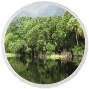Calm River Reflections Round Beach Towel