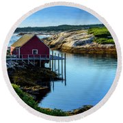 Calm Water At Peggys Cove #3 Round Beach Towel