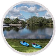 Caloosahatchee Kayaking Round Beach Towel