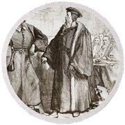 Calvin And Servetus Before The Council Of Geneva Round Beach Towel