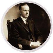 Calvin Coolidge Portrait Round Beach Towel