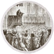 Calvin Preaching His Farewell Sermon In Expectation Of Banishment Round Beach Towel