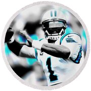 Cam Newton Letting It Fly Round Beach Towel