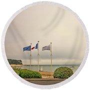 Camaret Sur Mer, Brittany, France, Bicyclist Round Beach Towel