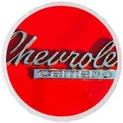 Camaro Logo On Cherry Red Car Round Beach Towel