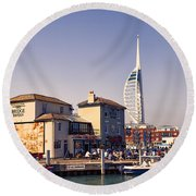 Camber Dock, Old Portsmouth Round Beach Towel