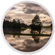 Cambodian Countryside Rice Fields Reflection Round Beach Towel