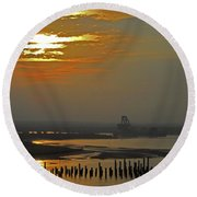Cambodian Sunsets 1 Round Beach Towel