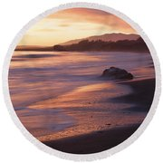 Cambria Coastline With Shimmering Sunset Color Round Beach Towel