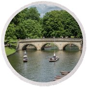 Cambridge Punting On The River Round Beach Towel