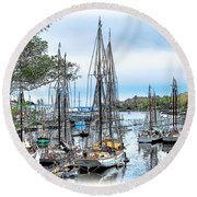 Camden Bay Harbor Round Beach Towel