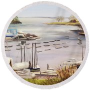 Camden Docks Round Beach Towel