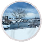 Camden Harbor In The Snow Round Beach Towel