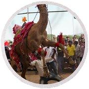 Camel Dance Pushkar Round Beach Towel