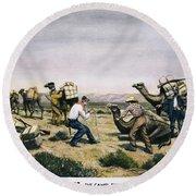Camel Express, 1857 Round Beach Towel