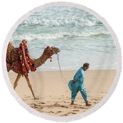 Camel Ride On Beach Round Beach Towel
