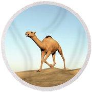 Camel Running - 3d Render Round Beach Towel