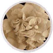 Camellia Sepia Round Beach Towel