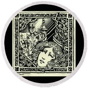 Lancelot And Guinevere Round Beach Towel