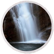Cameron Falls In Waterton Lakes National Park Of Alberta Round Beach Towel
