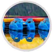 Cameron Lake Paddle Boats Round Beach Towel