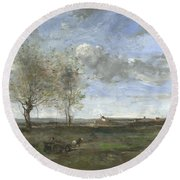 Camille Corot   A Wagon In The Plains Of Artois Round Beach Towel