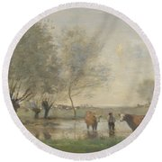 Camille Corot   Cows In A Marshy Landscape Round Beach Towel