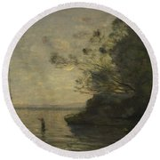 Camille Corot   Evening On The Lake Round Beach Towel