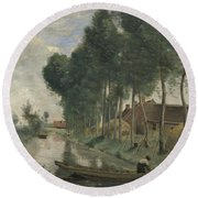Camille Corot   Landscape At Arleux Du Nord Round Beach Towel