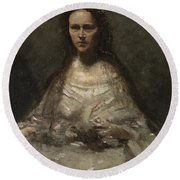 Camille Corot   Sketch Of A Woman In Bridal Dress Round Beach Towel