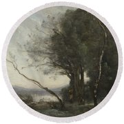 Camille Corot   The Leaning Tree Trunk Round Beach Towel
