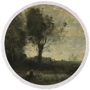 Camille Corot   The Wood Gatherer Round Beach Towel