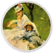 Camille Monet And Her Son Jean In The Garden At Argenteuil 1874 Round Beach Towel