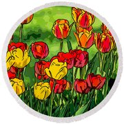 Camille's Tulips Round Beach Towel