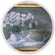 Camomile In The Pot And Busket With Pearls  Round Beach Towel