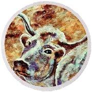 Camouflage Cow Art Round Beach Towel