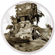 Camouflage Observation Tower Near Asilomar And The Point Pinos Lighthouse 1941 Round Beach Towel