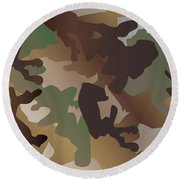 Camouflage Pattern Background  Clothing Print, Repeatable Camo G Round Beach Towel
