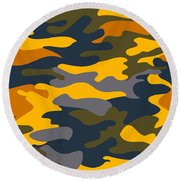 Camouflage Pattern Background Seamless Clothing Print, Repeatabl Round Beach Towel