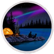 Camping With Dog Round Beach Towel