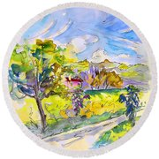Campagne Des Pyrenees Round Beach Towel