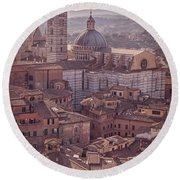 Campanile And Cathedral In Siena Italy Antique Matte Round Beach Towel