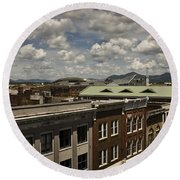 Campbell Avenue Rooftops Roanoke Virginia Round Beach Towel