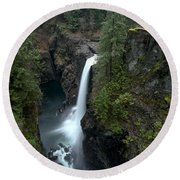 Campbell River Rain Forest Falls Round Beach Towel