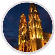 Campeche Cathedral At Evening Round Beach Towel