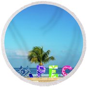 Campeche Sign And Sea View Round Beach Towel
