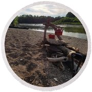 Campfire Cooking Soon - Indiana Canoeing Round Beach Towel