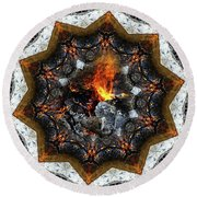 Campfire Flame Round Beach Towel