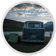 Camping At Torres Del Paine Round Beach Towel